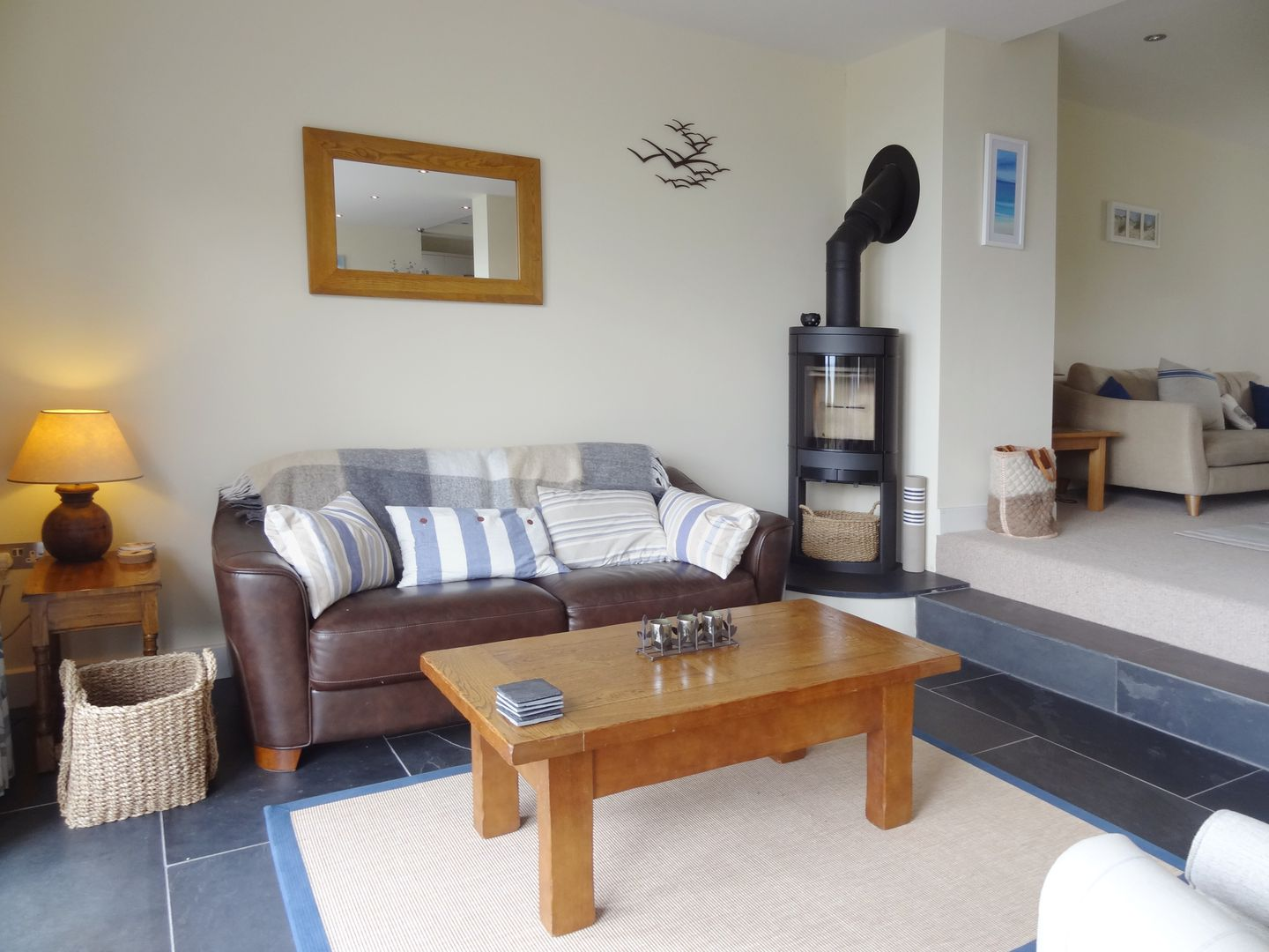 Castle View Port Isaac Sitting Room With Fire