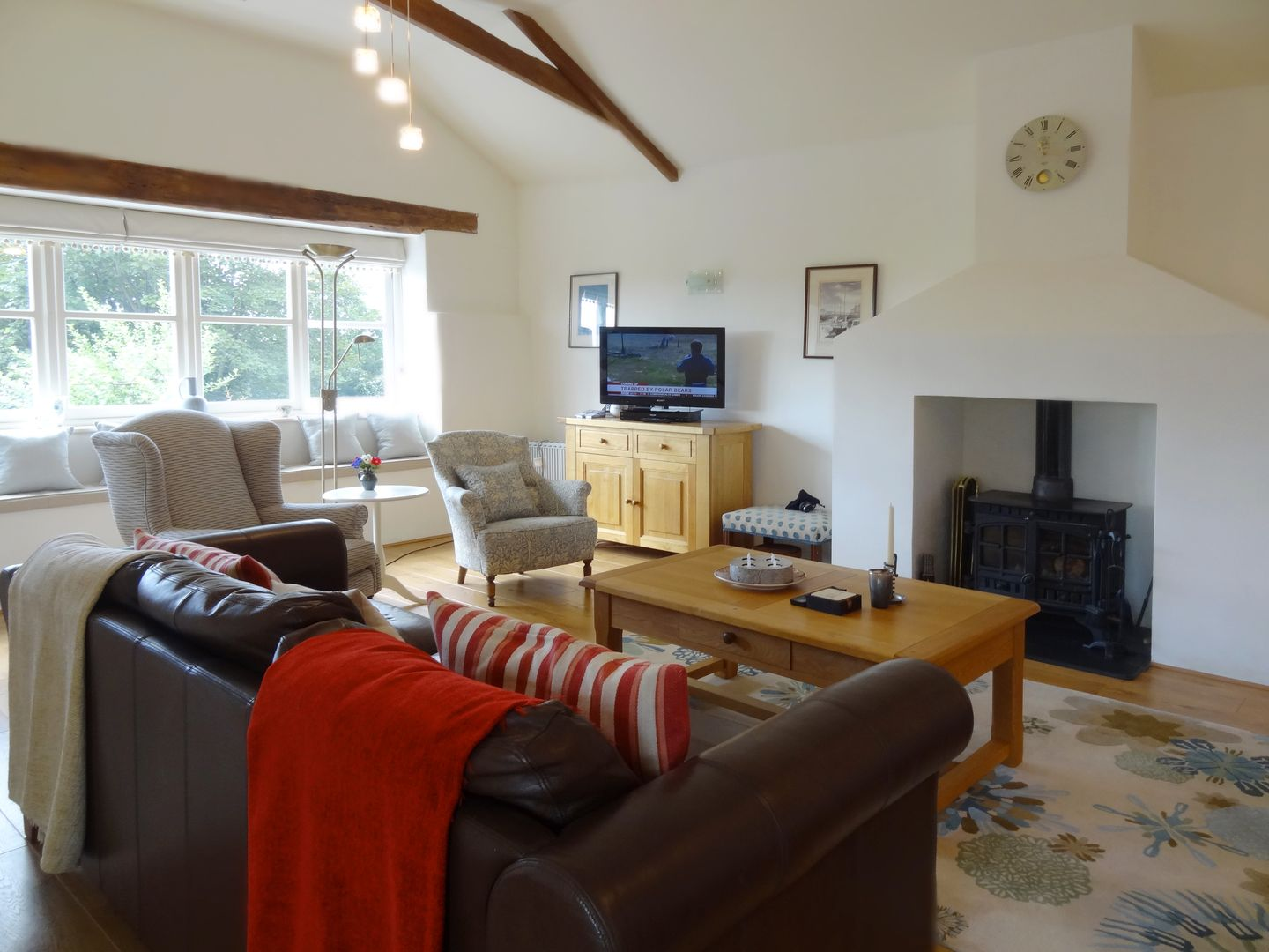 Crosscombe Barn Loddiswell Living Room With Fire